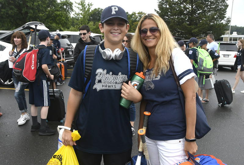 8/5/2017 Mike Orazzi   Staff Plainview Little League's Jake Goldfarb and his mom Linda arrive at the Giamatti Little League Center in Bristol for the start of the Eastern Regional Little Baseball Tournament in Bristol Saturday.