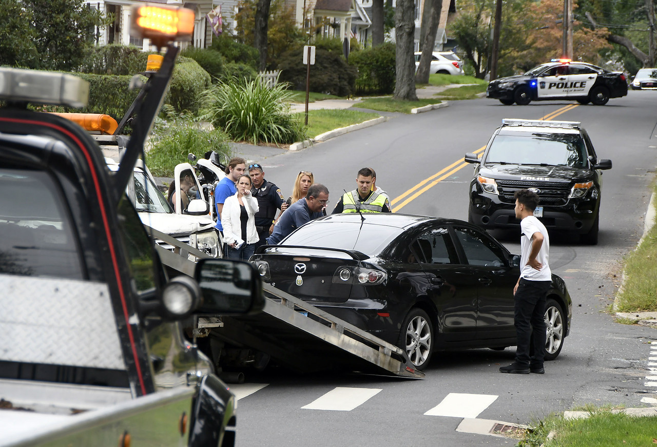 8/29/2017 Mike Orazzi | Staff The scene of a two car crash at the intersection of Oakland and Grove Streets in Bristol Tuesday morning. One person was taken by ambulance from the scene.