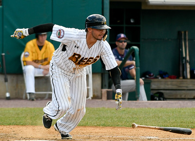 070417  Wesley Bunnell | Staff  The New Britain Bees were defeated by the Somerset Patriots on Tuesday afternoon. Michael Baca (5) bunts.