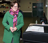 11/7/17  Wesley Bunnell | Staff  Democratic candidate for mayor Ellen Zoppo-Sassu enters her ballot into the machine at the Elks Club on Tuesday at noon.
