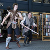12/16/2017 Mike Orazzi | Staff<br /> Granite State Saber Academy's and Kristal Terpstra and Adrian Johnson during a lightsaber battle at the Star Wars event at the Southington Public Library Saturday afternoon.