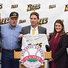 01/11/18  Wesley Bunnell | Staff<br /> <br /> Former major leaguer Wally Backman was officially introduced as the 2nd New Britain Bees Manager on Thursday afternoon at New Britain City Hall. Bees Owner Anthony Iacovone, Bees Manager Wally Backman, General Manager Brad Smith, Mayor Erin Stewart and Bees Owner Michael Pfaff.