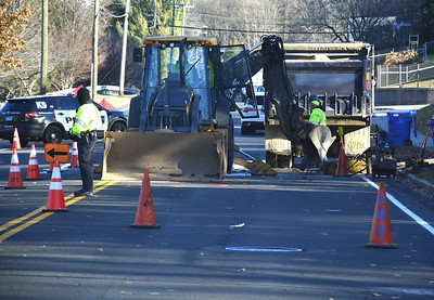 12/6/2017 Mike Orazzi | Staff The scene of a water main break on South Street in Bristol Wednesday afternoon.