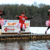 1/20/2018 Mike Orazzi | Staff<br /> Jen Humphrey, Chauna Wilson and Sabina Vance during the 13th Annual Sloper Plunge at Camp Sloper in Southington Saturday.