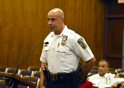 10/6/2015 Mike Orazzi | Staff Brian Gould, after being named acting Bristol Police Chief on October 24th, during a special city council meeting on Tuesday evening.