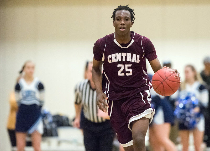 02/27/18  Wesley Bunnell | Staff<br /> <br /> Bristol Central boys basketball was defeated 74-40 by East Catholic at Bulkeley High School on Tuesday night during the CCC tournament. Jaekwon Spencer (25)