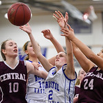 021317  Wesley Bunnell   Staff  Bristol Eastern girls basketball vs Bristol Central on Feb. 13 at Bristol Eastern High School. From left are Ashley Watson (10), Meredith Forman (10), Paige M ...