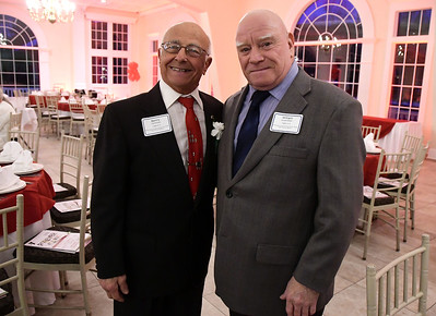 2/1/2017 Mike Orazzi | Staff YMCA Person of the Year Benny Cammuso (left) and William Lewandoski (right) during the Southington-Cheshire Community YMCA's 88th Annual Meeting held at the Aqua Turf Club Wednesday evening.