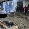 2/25/2017 Mike Orazzi | Staff<br /> Wyatt Simard (left) demonstrates a technique for making maple syrup during the 7th Annual Maple Sugaring and Pancake Breakfast Fundraiser at Indian Rock Nature Preserve in Bristol Saturday morning.
