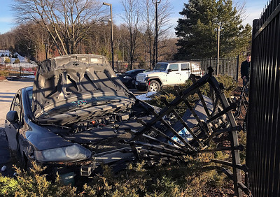 2/3/2017 Mike Orazzi | Staff A one-car crash near the entrance to ESPN on the Bristol Southington car line Friday afternoon.