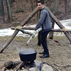 2/25/2017 Mike Orazzi | Staff<br /> Wyatt Simard demonstrates a technique for making maple syrup during the 7th Annual Maple Sugaring and Pancake Breakfast Fundraiser at Indian Rock Nature Preserve in Bristol Saturday morning.