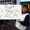 2/25/2017 Mike Orazzi | Staff<br /> Charlene Pease during a candle light vigil and rally for the Affordable Care Act (ACA) and or Obamacare, in New Britain's Central Park Saturday evening.