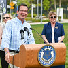 071816  Wesley Bunnell | Staff<br /> <br /> Governor Dannel Malloy visited the downtown New Britain CT fastrak station which features a farmers market on Monday afternoons. Governor Malloy as he answers questions from members of the media.