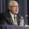 Kevin Bartram   Staff<br /> Chris Wilson speaks during a mayoral debate between Democratic candidate Wilson and Republican candidate Ken Cockayne Tuesday evening at St. Paul Catholic High School in Bristol.