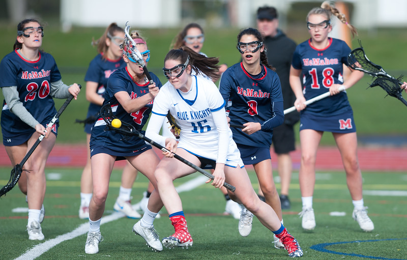 04/19/18  Wesley Bunnell | Staff<br /> <br /> Southington girls lax vs Brien McMahon at Southington High School on Thursday afternoon. Brooke Lynch (16).