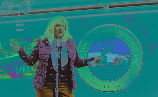 10/16/18  Wesley Bunnell |l  Vice Chair of the Southington Town Council Dawn Miceli gave a anti drug speech during her time on stage at the Red Ribbon Rally on the town green on Tuesday night. The rally's goal is to keep youth form experimenting with illegal drugs.