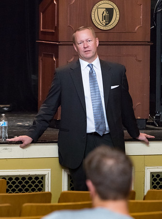 06/19/18  Wesley Bunnell | Staff  Prospective CCSU Athletic Director Michael Waddell spoke and answered questions from the audience on Tuesday afternoon at Torp Theater in Davidson Hall.
