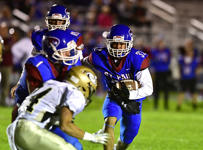 10/5/2018 Mike Orazzi | Staff St. Paul Catholic High School's Rudy Otero (32) during Friday night's football game with Woodland in Bristol.