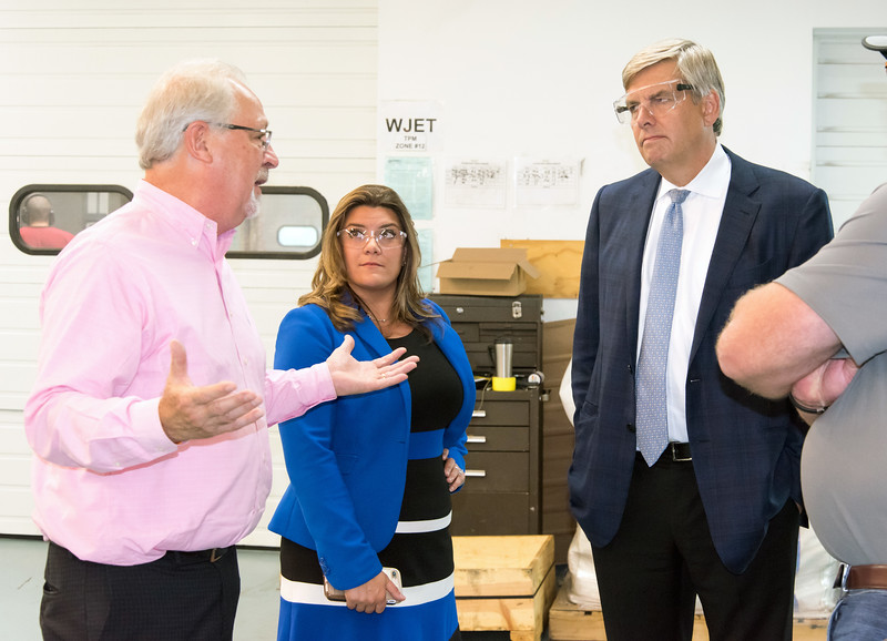 10/05/18  Wesley Bunnell | Staff  Republican candidate for Governor Bob Stefanowski visited manufacturer Admill Machine in New Britain on Friday afternoon on the first of two stops in the city. Salesperson Al Parlow, L, speaks with Mayor Erin Stewart and Stefanowski during a tour of the plant.