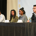 042617  Wesley Bunnell | Staff  A panel of CCSU students held a discussion as part of a larger students titled Stand Against Racism on Wednesday afternoon.  Accounting major Kelly Turner, le ...