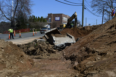 4/12/2017 Mike Orazzi | Staff Construction crews widen Route 6 Thursday afternoon in Bristol.
