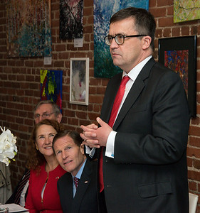 033117  Wesley Bunnell | Staff  Polish Ambassador Piotr Wilczek visited New Britain's Little Poland section on Friday March 31, 2017 to celebrate the opening of an honorary Polish Consul in the city.  Ambassador Piotr Wilczek speaks before a luncheon in his honor at Belvedere Restaurant. Seated from the left are former Mayor Lucian Pawlak, Congresswoman Elizabeth Esty & Senator Richard Blumenthal.
