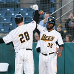051117  Wesley Bunnell | Staff  New Britain Bees won in a 9th inning walk off home run by Conor Bierfeldt (28) on Thursday evening 4-3 over the Long Island Ducks.  Conor Bierfeldt (28) gets  ...