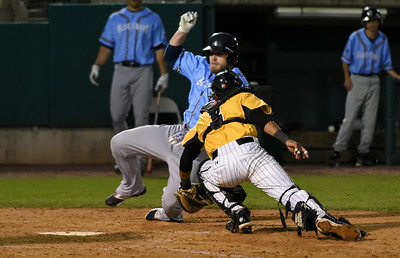 052617  Wesley Bunnell | Staff  The New Britain Bees were defeated by the Southern Maryland Blue Crabs 3-1 on Friday evening. James Skelton (3) applies the tag in time at a play at the plate.