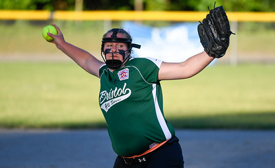 062617  Wesley Bunnell | Staff  Bristol defeated Berlin on Monday evening in Plainville to claim the Little Leage District 5 Softball Championship. Bristol pitcher Ashley Serafin (11).