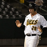 051817  Wesley Bunnell | Staff  New Britain Bees vs the Bridgeport Bluefish on Thursday evening. Conor Bierfeldt (28) after coming across home plate.