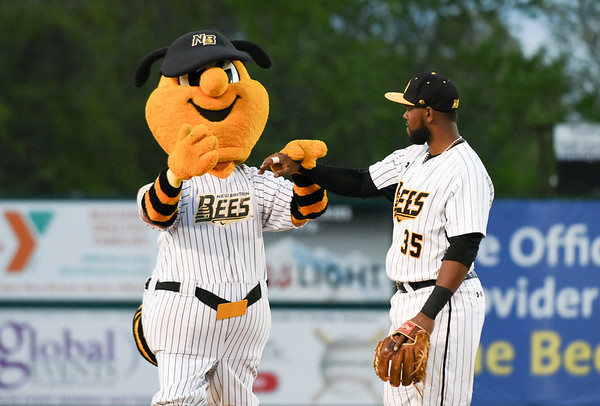 051217  Wesley Bunnell | Staff  The New Britain Bees defeated the Long Island Ducks 6-0 on Friday evening. Jovan Rosa (35) jokes around with Sting between innings.