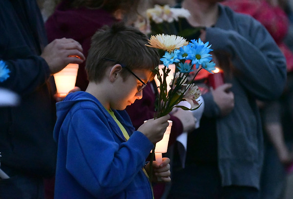 5/2/2017 Mike Orazzi | Staff A vigil held for a young boy who was killed Sunday in an accident while his father was moving a vehicle in the family's driveway.