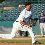 070517  Wesley Bunnell | Staff  New Britain Bees vs Somerset Patriots on Wednesday evening. Greg Nappo (12).