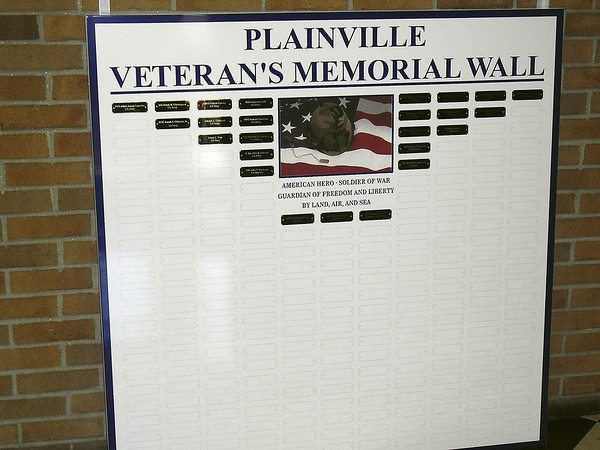 Plainville's Veterans Memorial Wall.