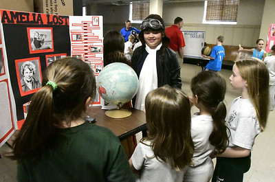 5/2/2017 Mike Orazzi | Staff St. Joseph School 5th grade student Brianna Wood as Amelia Earhart during the school's annual wax museum Tuesday afternoon.