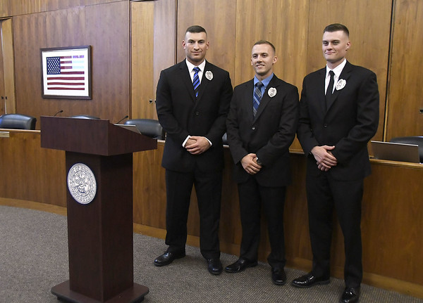 7/12/2017 Mike Orazzi | Staff Bristol's newest police recruits, Zach Rodriguez, Chris Bordner,and Travis Martin.