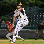 072417  Wesley Bunnell | Staff  The New Britain Bees lost 2-1 to the Lancaster Barnstormers on Monday evening. Losing pitcher Brandon League (4).