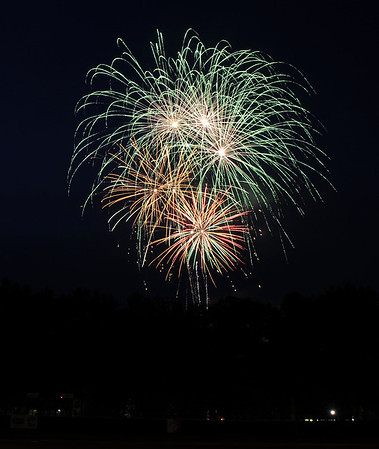 7/3/2015 Mike Orazzi | Staff Firework at Rockwell Park after Friday night's Bristol Blues game.