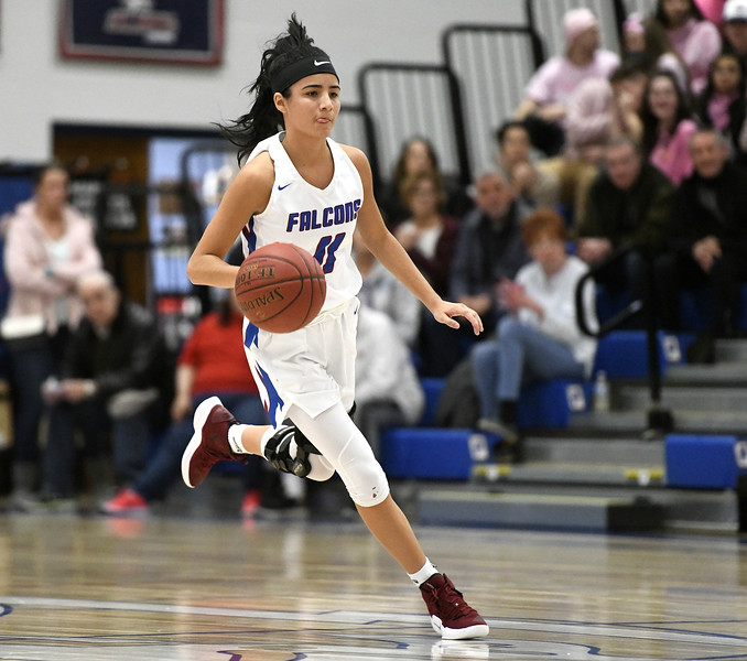 1/11/2019 Mike Orazzi | Staff St. Paul's Janessa Gonzalez (11) Friday night in Bristol against Watertown
