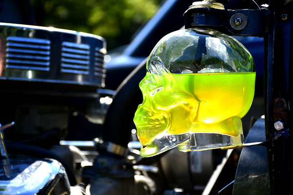 9/21/2019 Mike Orazzi | Staff A skull used as the coolant overflow container on one the cars displayed during Saturday's Mum Festival on Memorial Boulevard in Bristol.