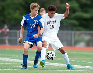 09/17/18  Wesley Bunnell | Staff  Bristol Eastern soccer defeated New Britain 2-0 on Monday afternoon at Bristol Eastern High School.  Bristol Eastern's Jake Woznicki (10).