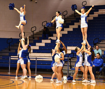 1/4/2020 Mike Orazzi | Staff Central Connecticut State University Cheerleaders perform during Saturday's men's basketball game with Saint Francis University in New Britain.