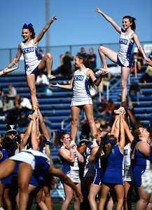 10/19/2019 Mike Orazzi | Staff Central Connecticut State University cheerleaders during Saturday's football game with Bryant in New Britain.