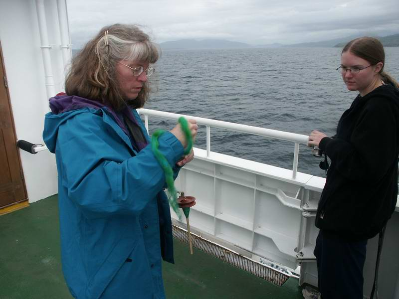 On the ferry to Skye, Peggy is testing a report that drop spindles don't spin as long on ferry rides.  The results were not conclusive.  The ride was fairly calm although there was enough motion to set off the alarms on two of the cars.