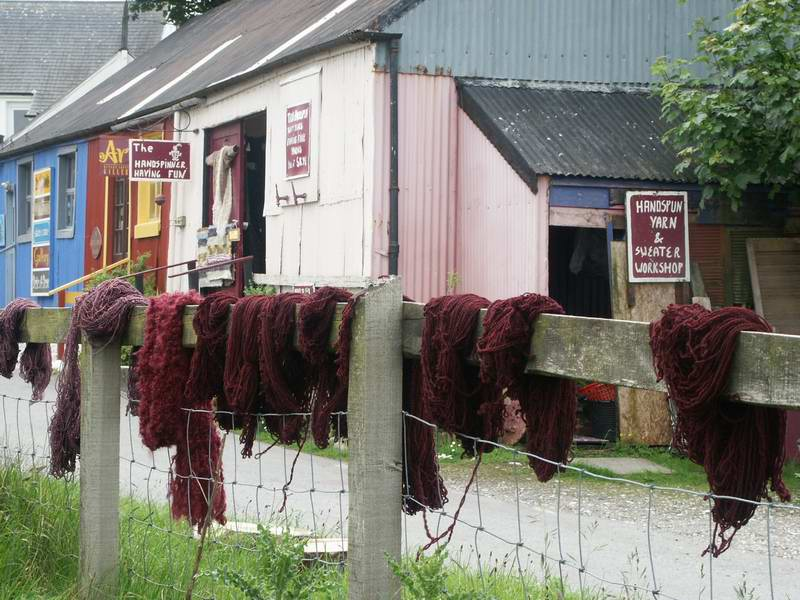 Driving around Skye we saw a sign for this shop in Broadford and stopped to visit.  They sell handknit and woven goods from craftspeople all over the highlands.  It was a very nice little shop.  Peggy picked up some pewter Celtic buttons.