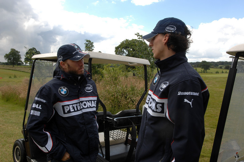 Thursday, July 3, 2008 BMW Sauber F1 Team drivers Nick Heidfeld (GER) and Robert Kubica (POL) play golf at the Whittlebury Park Golf Club near Silversone circuit. This image is copyright free for editorial use © BMW AG.