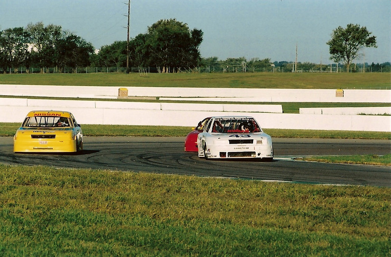 Coming thru turn six with Bill Partridge in the Nissan Sentra followed by Roy Lopshire driving his Toyota Tercell during qualifying at the 2007 SCCA National Championship Runoffs.