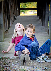 Jake and Kate Laughing on Barn Ramp-1