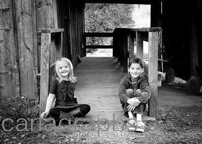 Kids on Barn Ramp 2 bw-1