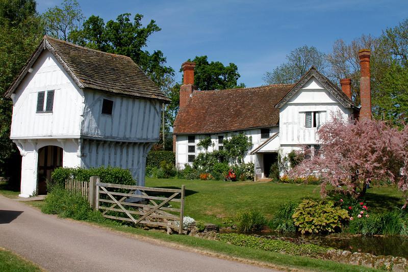 The 15th century moated Brockhampton Farmhouse.